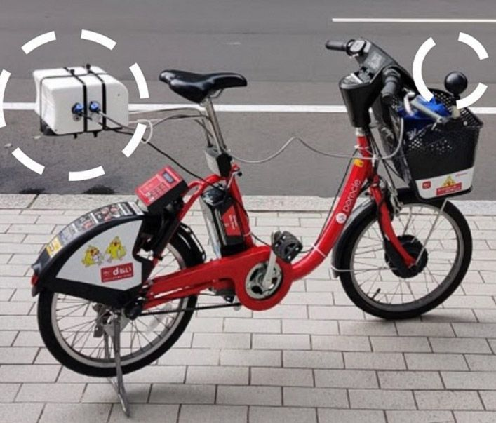 Bicycle equipped with a Kunak Air Mobile air monitoring station and wet bulb temperature probe