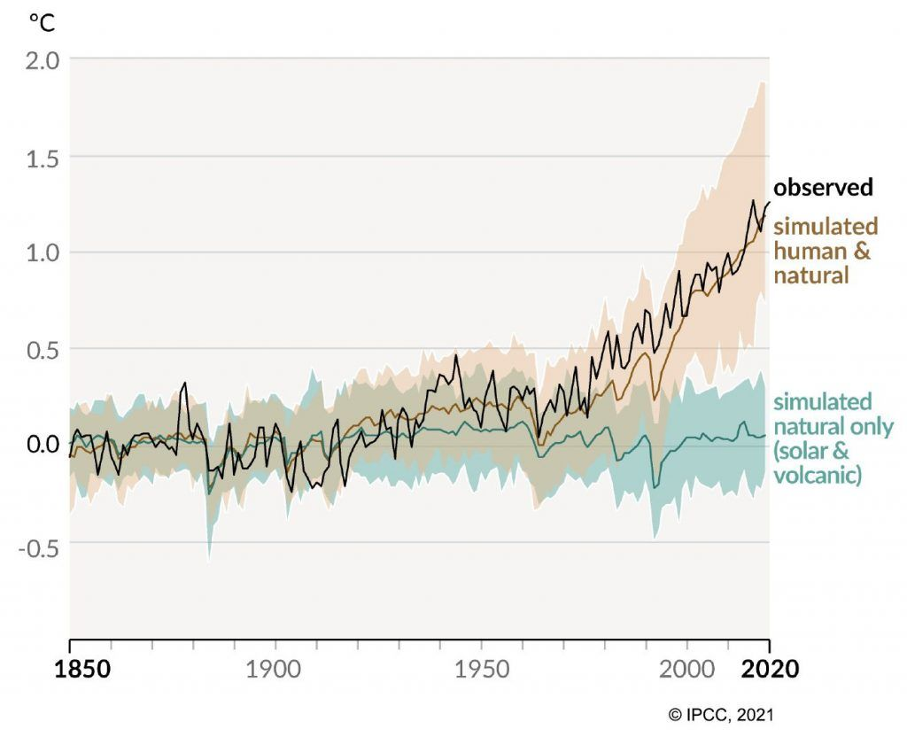 Evolution of observed and simulated temperatures